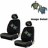 Front Bucket Seat Covers - Low Back - Crystal Studded Rhinestone Bling - Car Truck SUV - Blue and Green Turtles with Stars and Hearts - pair