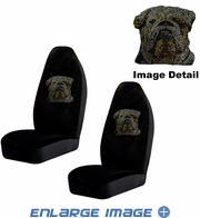 Front Car Truck SUV Bucket Seat Covers - Crystal Studded Rhinestone Bling - Bulldog