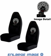 Front Car Truck SUV Bucket Seat Covers - Crystal Studded Rhinestone Bling - Disco Afro Girl