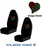 Front Car Truck SUV Bucket Seat Covers - Crystal Studded Rhinestone Bling - Heart Rose