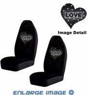 Front Car Truck SUV Bucket Seat Covers - Crystal Studded Rhinestone Bling - Hearts Love - White