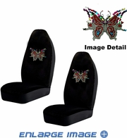 Front Car Truck SUV Bucket Seat Covers - Crystal Studded Rhinestone Bling - Multi Butterflies