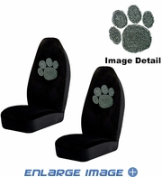 Front Car Truck SUV Bucket Seat Covers - Crystal Studded Rhinestone Bling - Paw