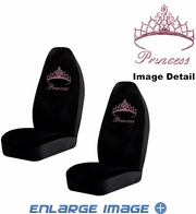 Front Car Truck SUV Bucket Seat Covers - Crystal Studded Rhinestone Bling - Pink Princess w/ Cute Crown