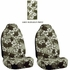 Front Car Truck SUV Universal-fit Bucket Seat Covers - Hawaiian Hibiscus Flowers - Grey - pair