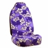 Front Car Truck SUV Universal-fit Bucket Seat Covers - Hawaiian Hibiscus Flowers - Purple - pair