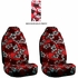 Front Car Truck SUV Universal-fit Bucket Seat Covers - Hawaiian Hibiscus Flowers - Burgundy Red - pair
