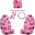 Front Car Truck SUV Universal-fit Bucket Seat Covers, Steering Wheel Cover and Seat Belt Pads - 5 Pc Set - Hawaiian Hibiscus Flower Print - Pink