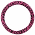 Front Car Truck SUV Universal-fit Bucket Seat Covers, Steering Wheel Cover and Seat Belt Pads - 5 Pc Set - Animal Print - Leopard - Pink