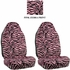 Front Car Truck SUV Universal-fit Bucket Seat Covers - Animal Print - Zebra - Pink - pair