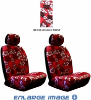 Front Car Truck SUV Low Back Bucket Seat Covers - Hawaiian Hibiscus Flowers - Burgundy Red - pair