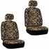 Front Car Truck SUV Low Back Bucket Seat Covers, Headrest Covers, Steering Wheel Cover and Seat Belt Pads - 7 Pc Set - Animal Print - Zebra - Beige Tan