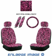 Front Car Truck SUV Low Back Bucket Seat Covers, Headrest Covers, Steering Wheel Cover and Seat Belt Pads - 7 Pc Set - Animal Print - Zebra - Hot Dark Pink