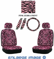 Front Car Truck SUV Low Back Bucket Seat Covers, Headrest Covers, Steering Wheel Cover and Seat Belt Pads - 7 Pc Set - Animal Print - Zebra - Pink