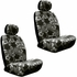 Front Car Truck SUV Low Back Bucket Seat Covers, Headrest Covers, Steering Wheel Cover and Seat Belt Pads - 7 Pc Set - Hawaiian Hibiscus Flower Print - Black Charcoal