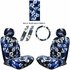 Front Car Truck SUV Low Back Bucket Seat Covers, Headrest Covers, Steering Wheel Cover and Seat Belt Pads - 7 Pc Set - Hawaiian Hibiscus Flower Print - Blue