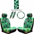 Front Car Truck SUV Low Back Bucket Seat Covers, Headrest Covers, Scrunchy Steering Wheel Cover and Seat Belt Pads - 7 Pc Set - Hawaiian Hibiscus Flower Print - Green