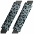 Front Car Truck SUV Low Back Bucket Seat Covers, Headrest Covers, Steering Wheel Cover and Seat Belt Pads - 7 Pc Set - Animal Print - Leopard - Grey Snow