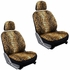 Front Car Truck SUV Low Back Bucket Seat Covers, Headrest Covers, Steering Wheel Cover and Seat Belt Pads - 7 Pc Set - Animal Print - Leopard - Tan