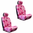 Front Car Truck SUV Low Back Bucket Seat Covers, Headrest Covers, Steering Wheel Cover and Seat Belt Pads - 7 Pc Set - Hawaiian Hibiscus Flower Print - Pink
