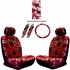 Front Car Truck SUV Low Back Bucket Seat Covers, Headrest Covers, Steering Wheel Cover and Seat Belt Pads - 7 Pc Set - Hawaiian Hibiscus Flower Print - Burgundy Red