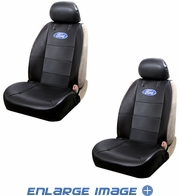 Front Car Truck SUV Low Back Sideless Bucket Seat Covers - Ford Logo - PAIR