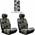 Front Car Truck SUV Low Back Bucket Seat Covers - Hawaiian Hibiscus Flowers - Black Charcoal - pair
