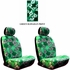 Front Car Truck SUV Low Back Bucket Seat Covers - Hawaiian Hibiscus Flowers - Green - pair