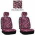 Front Car Truck SUV Low Back Bucket Seat Covers - Animal Print - Zebra - Pink - pair