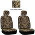 Front Car Truck SUV Low Back Bucket Seat Covers - Animal Print - Zebra - Beige Tan - pair