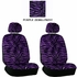 Front Car Truck SUV Low Back Bucket Seat Covers - Animal Print - Zebra - Purple - pair