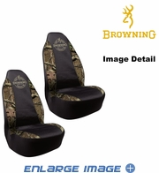 Front Car Truck SUV Poly Spandex Bucket Seat Covers - Camouflage - Browning Buckmark Logo - pair