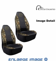 Front Car Truck SUV Poly Spandex Bucket Seat Covers - Camouflage - Ducks Unlimited Logo - pair