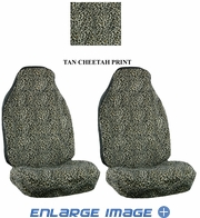 Front Car Truck SUV Universal-fit Bucket Seat Covers - Animal Print - Cheetah - Beige Tan - pair