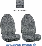 Front Car Truck SUV Universal-fit Bucket Seat Covers - Animal Print - Cheetah - Grey Snow - pair