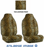 Front Car Truck SUV Universal-fit Bucket Seat Covers - Animal Print - Leopard - Beige Tan - pair