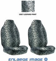 Front Car Truck SUV Universal-fit Bucket Seat Covers - Animal Print - Leopard - Grey Snow - pair