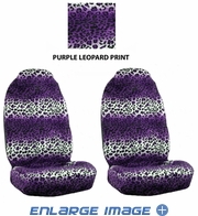 Front Car Truck SUV Universal-fit Bucket Seat Covers - Animal Print - Leopard - Purple - pair