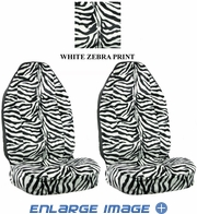 Front Car Truck SUV Universal-fit Bucket Seat Covers - Animal Print - Zebra - White - pair
