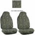 Front Car Truck SUV Universal-fit Bucket Seat Covers, Steering Wheel Cover and Seat Belt Pads - 5 Pc Set - Animal Print - Cheetah - Beige Tan