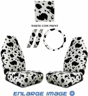 Front Car Truck SUV Universal-fit Bucket Seat Covers, Steering Wheel Cover and Seat Belt Pads - 5 Pc Set - Animal Print - Cow - White