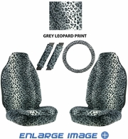 Front Car Truck SUV Universal-fit Bucket Seat Covers, Steering Wheel Cover and Seat Belt Pads - 5 Pc Set - Animal Print - Leopard - Grey Snow