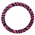 Front Car Truck SUV Universal-fit Bucket Seat Covers, Steering Wheel Cover and Seat Belt Pads - 5 Pc Set - Animal Print - Zebra - Hot Dark Pink