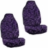 Front Car Truck SUV Universal-fit Bucket Seat Covers, Steering Wheel Cover and Seat Belt Pads - 5 Pc Set - Animal Print - Zebra - Purple