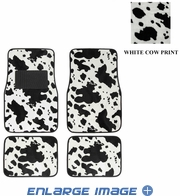 Front & Rear Seat Carpet Floor Mats - Car Truck SUV - Animal Print - Cow - White