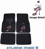 Front & Rear Seat Carpet Floor Mats - Car Truck SUV - Crystal Studded Rhinestone Bling - High Heel Pink