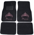 Front & Rear Seat Carpet Floor Mats - Car Truck SUV - Crystal Studded Rhinestone Bling - Pink Princess w/ Cute Crown