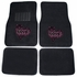 Front & Rear Seat Rubber Floor Mats - Car Truck SUV - Crystal Studded Rhinestone Bling - Hearts Love - Pink