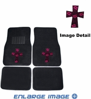 Front & Rear Seat Rubber Floor Mats - Car Truck SUV - Crystal Studded Rhinestone Bling - High Cross Skulls - Pink