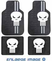 Front & Rear Seat Rubber Floor Mats - Car Truck SUV - Marvel Comics - The Punisher